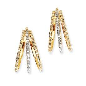 14k Two-tone Dia. Fascination Triple Oval Hinged Hoop Earrings - Measures 22x12mm - JewelryWeb
