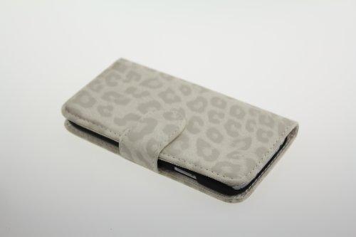 Galaxy S4 (SC-04E) アニマルシリーズ レオパード 豹柄 レザー調 フリップ型 カードケース付き 全4色ドコモ ギャラクシーS4 ケース ホワイト [JE01008] JAPAEMO