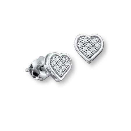 Genuine Diamond Micro Pave Heart Stud Earrings Rhodium on Sterling Silver