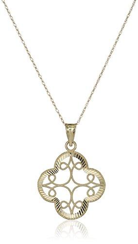 14k-Yellow-Gold-Diamond-Cut-Clover-Pendant-Necklace-18