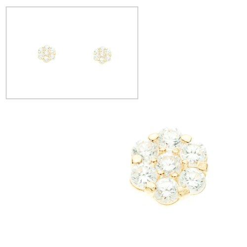 10KT Gold CZ Flower Earrings