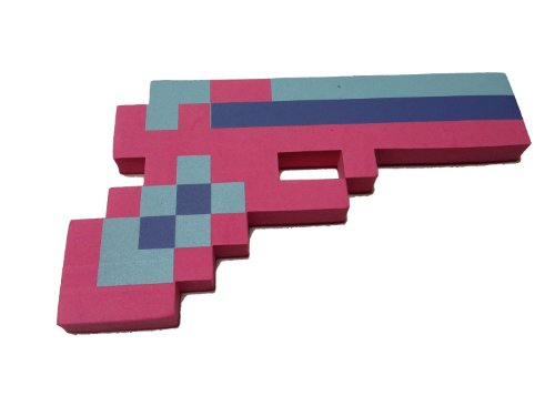 8 Bit Pixelated Pink Stone Foam Gun Toy 10""