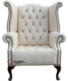 Chesterfield Buttoned Queen Anne Respaldo Alto Sillón cottonseed Piel), color crema