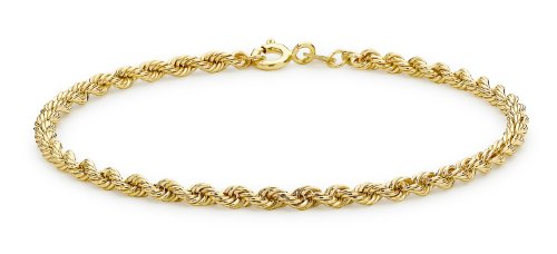 Carissima 9ct Yellow Gold Semi Hollow Rope Bracelet 18.5 cm/7.25
