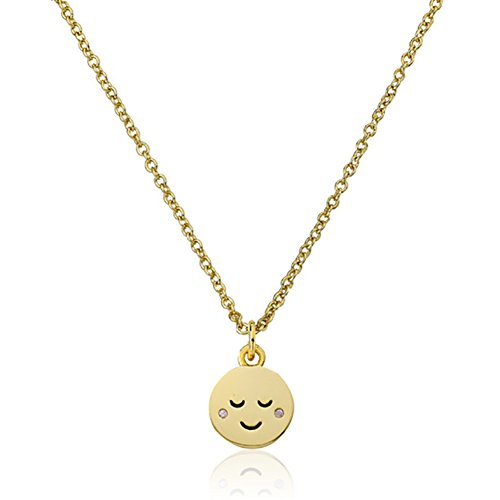 Sterling Silver Gold Tone Cubic Zirconia Relieved Face Emoji Pendant Necklace, 17.5″