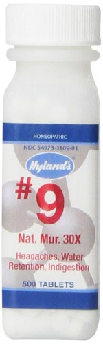 Hyland's Cell Salts #9 Natrum Muriaticum 30X Tablets, Natural Homeopathic Headache and Indigestion Relief, 500 Count