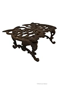 Heavy Cast Iron Double Owl Teapot Candle Burner Warmer Chafing Warming Trivet