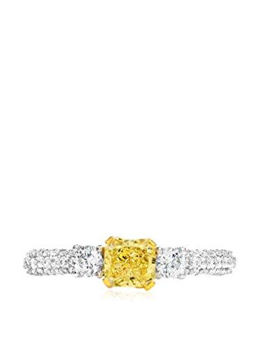 Bouquet 1 Carat Fancy Yellow Radiant Diamond/18K White Gold Ring