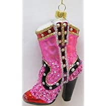 December Diamonds Pink Glass Western Boot Shoe Ornament is Ready to Hang on a Gold Cord...Fun Gift for the Lady in Your Life!!