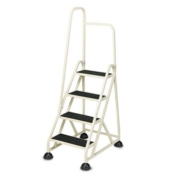 Four-Step Stop-Step Folding Aluminum Handrail Ladder, Beige by CRAMER (Catalog Category: Office Maintenance, Janitorial & Lunchroom / Ladders / Aluminum)