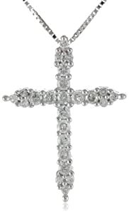 "10k White Gold Diamond Cross Pendant Necklace (1/4 cttw, I-J Color, I2-I3 Clarity), 18"" from Amazon Curated Collection"