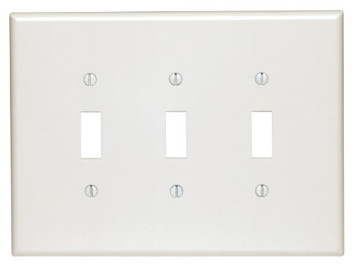 Leviton 88111 3-Gang Toggle Device Switch Wallplate, Oversized, Thermoset, Device Mount, White