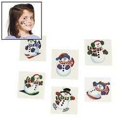 "72 SNOWMAN Glitter TATTOOS/Snow/WINTER/CHRISTMAS PARTY FAVORS/HOLIDAY/6 DOZEN 1.5"" - 1"