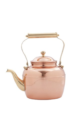 Old Dutch Solid Copper Teakettle with Brass Handle, 2.5-Quart