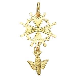 So Chic Jewels - 18K Gold Plated Dove Malta Huguenot Cross