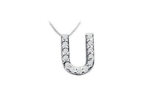 CZ Initial Sterling Silver U Pendant