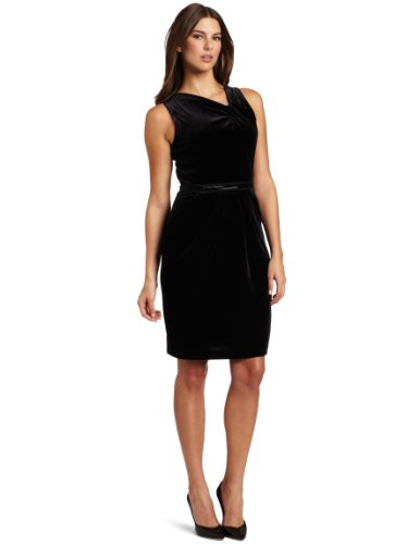 Ak Anne Klein Women's Petite Velvet Sleeveless Asymmetrical V-Neck Dress, Black, Medium