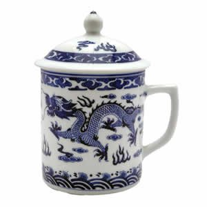 Asian Porcelain Mug for Tea or Coffee with Lid - Blue and White Dragon Design