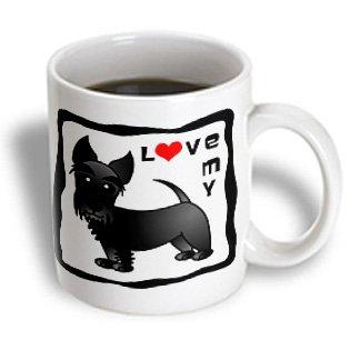 3Drose I Love My Scottie Dog Black Red Heart Ceramic Mug, 15-Ounce