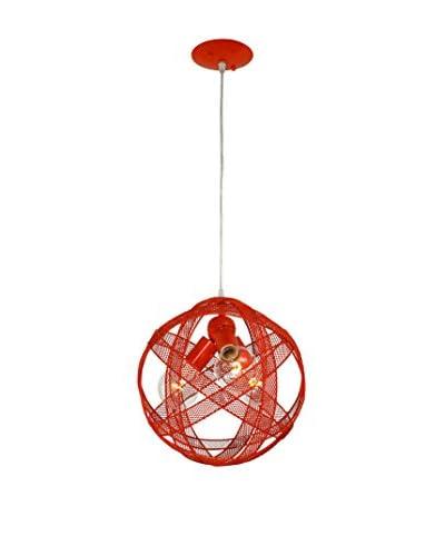 Varaluz At-Mesh-Sphere 3-Light Pendant, Radioactive Tangerine