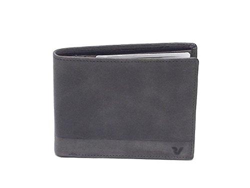 Roncato portafoglio uomo, Bravo 411952-22, portafoglio orizzontale multiscomparto in pelle, colore antracite