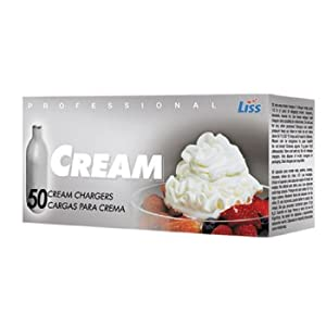 Liss N2O 8 Gram Professional Cream Whipper Chargers, 50 Pack