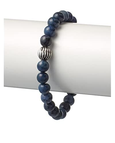 Stephen Oliver Multi Blue and Oxidized Carved Sterling Silver Bracelet, APP 8""