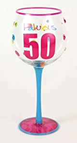 Hand Painted Milestone Fabulous 50th Birthday Wine Glass, Holds 18 Oz - In A Gift Box