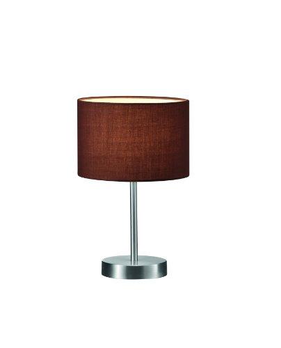 Trio-Leuchten-Tischleuchte-in-Nickel-matt-Stoffschirm-braun-exklusive-1x-E14-maximal-40W--20-cm-Hhe-32-cm-501100114