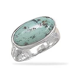 Oval Turquoise East West Side Set Ring Sterling Silver Band