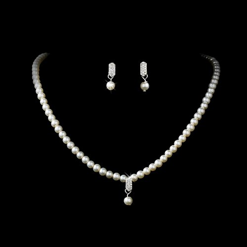 Silver Ivory Bridal Wedding Necklace Earring Set