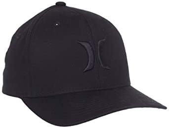 Hurley Men's One And Only Flexfit Hat, Black Striper, Small/Medium