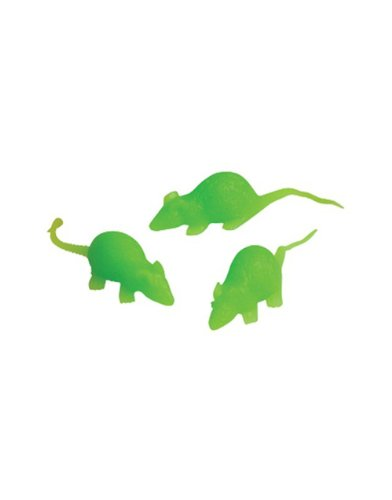 "Lot 24 2"" Green Sticky Stretch Glow Rubber Halloween Decoration Mouse Rat"