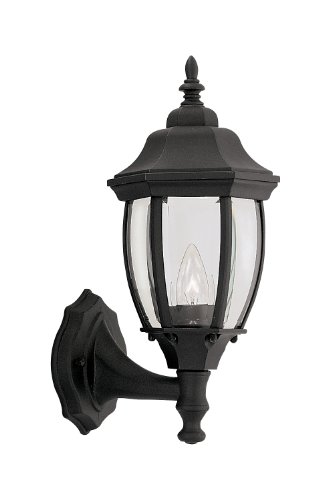 Designers Fountain 2420-BK Tiverton Collection 1-Light Exterior Wall Lantern, Black Finish with Clear Beveled Glass
