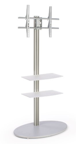 """Tv Floor Stand Fits 42"""" To 60"""" Flat Screen Monitors, Includes 2 Acrylic Shelves, Round Mdf Base, Vesa Compatible, Aluminum (Silver)"""
