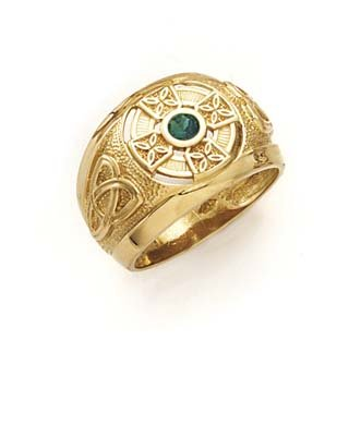 14k Celtic Cross Synthetic Emerald Mens Ring  Size 10.0  JewelryWeb