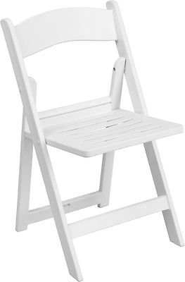 (50 PACK) White Resin Wedding Folding Chair with Slatted Seat - Wedding Chair