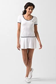 Short Sleeve Technical Jersey Pleated Tennis Dress