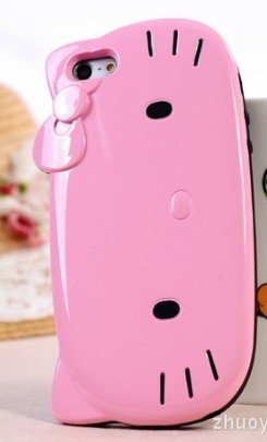 Best Price Cute Hello Kitty case for iPhone 5 / pink body+pink bowknot (Free Standard Shipping)