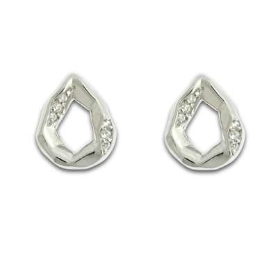 Fashionable Button Earrings 925 Sterling Silver Open Pear Shaped with CZ Side Bars Design(WoW !With Purchase Over $50 Receive A Marcrame Bracelet Free)