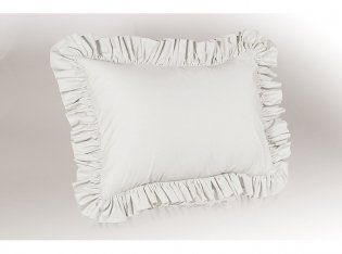 Poly/Cotton Ruffled Pillow Sham, King, White