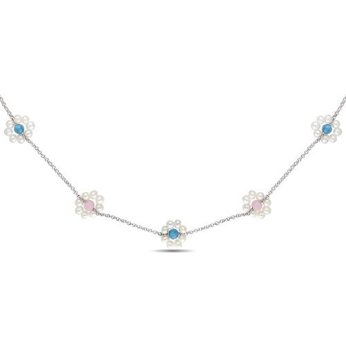 Sterling Silver 9 CT TGW Rose Quartz and Blue Agate FW White Pearls Necklace with Chain