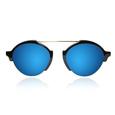 Illesteva Milan III Black with Blue Mirrored Lenses
