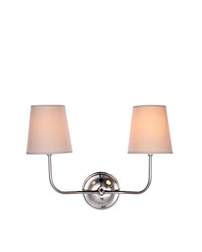 Urban Lights Lancaster 2-Light Wall Lamp, Polished Nickel
