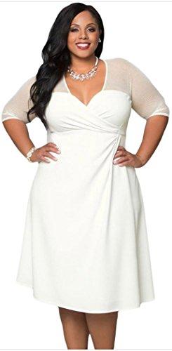 Elady Plus Size Elegant Midi Dress Slim Waist Hollow-Out (WhiteXL)