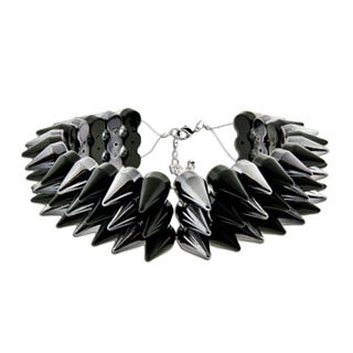 Gun Metal and Black Acrylic Choker Necklace With Three Row of Spikes - 16
