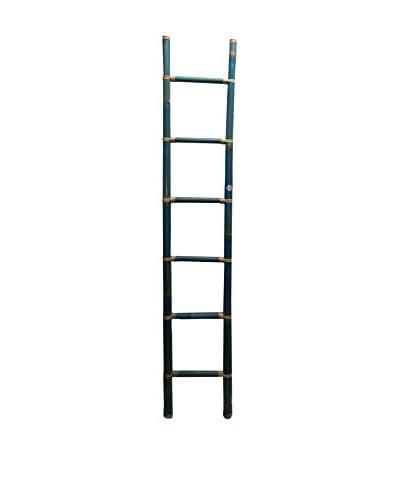 Asian Loft Bamboo Ladder, Turquoise/White