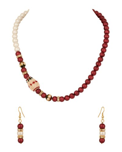Voylla Necklace Set with Pear Pearl Encrusted Dholki, Burgundy Pearls (yellow)