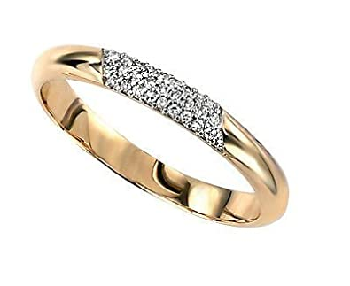 J R Jewellery 442055 Yellow Gold Diamond Eternity Ring with Pave Detail