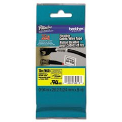 ** Tze Flexible Tape Cartridge For P-Touch Labelers, 1In X 26.2Ft, Black On Yellow